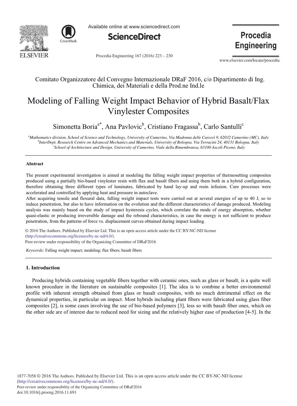 Modeling of Falling Weight Impact Behavior of Hybrid Basalt