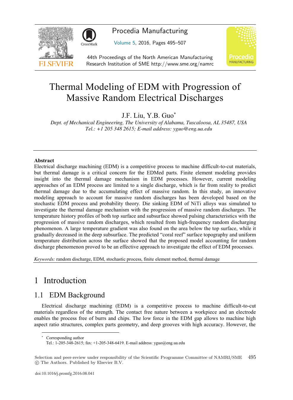 Thermal Modeling of EDM with Progression of Massive Random