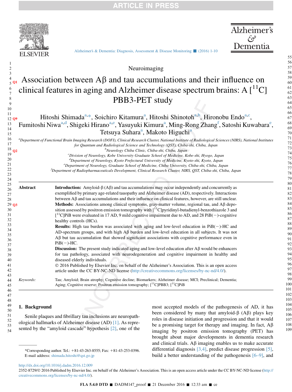 Association between Aβ and tau accumulations and their