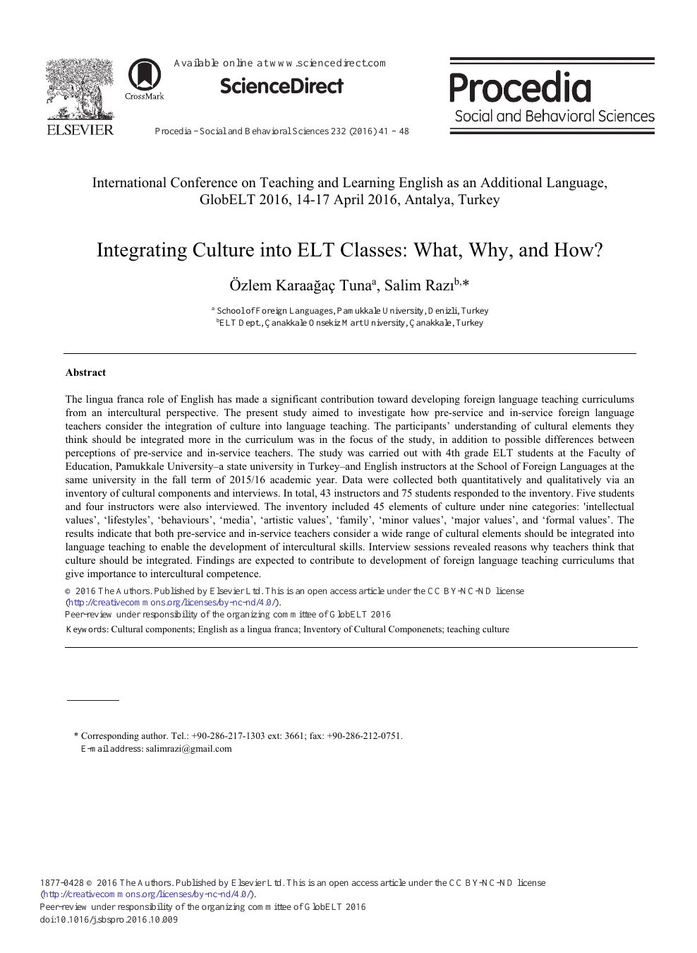 Integrating Culture into ELT Classes: What, Why, and How? – topic of