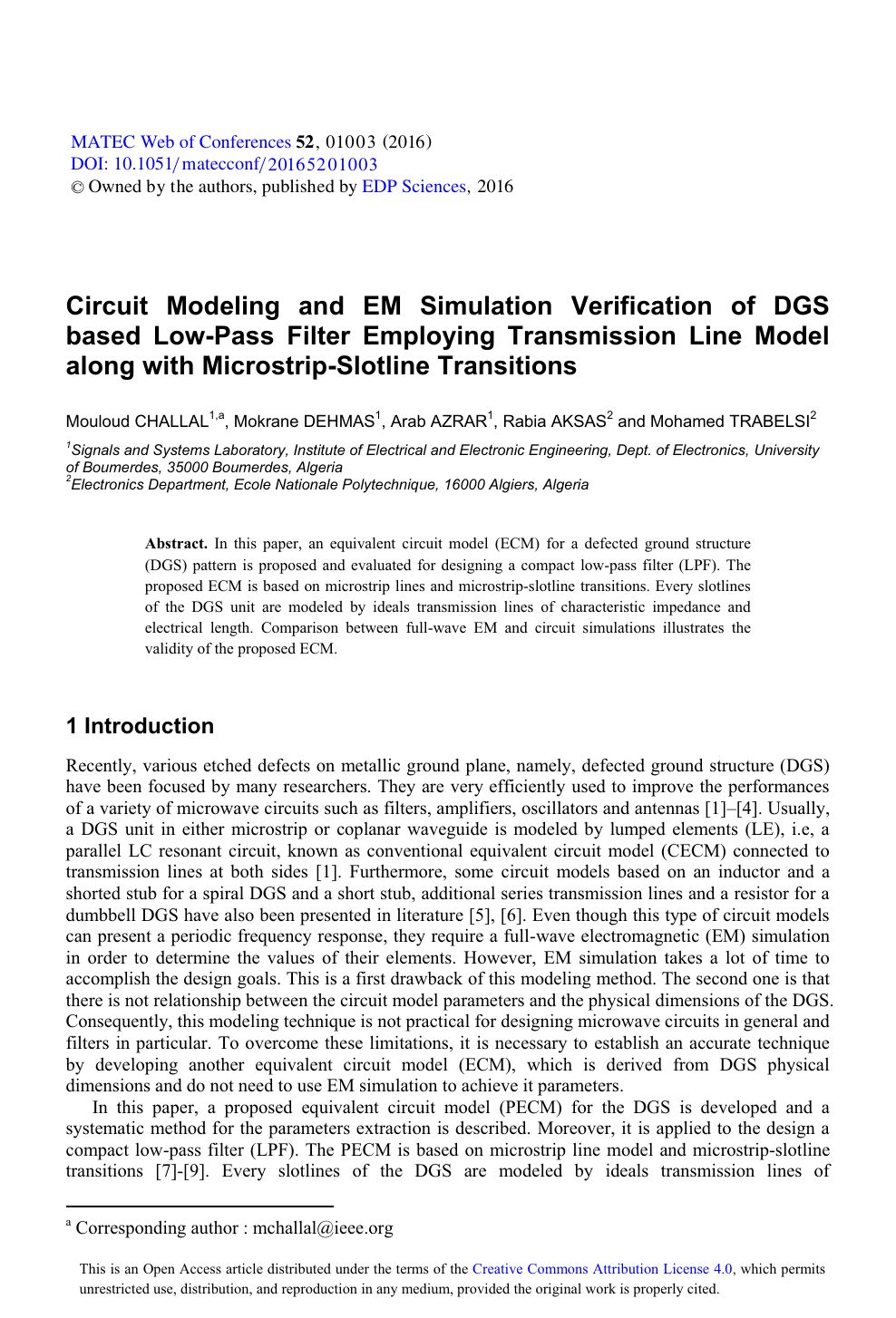 Circuit Modeling and EM Simulation Verification of DGS based