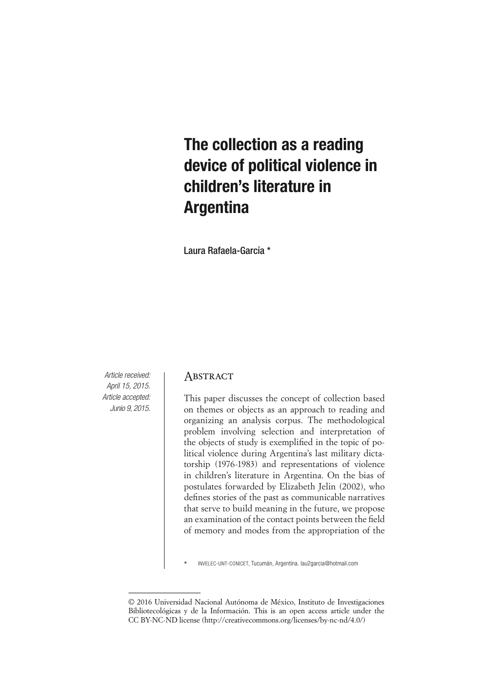 The collection as a reading device of political violence in
