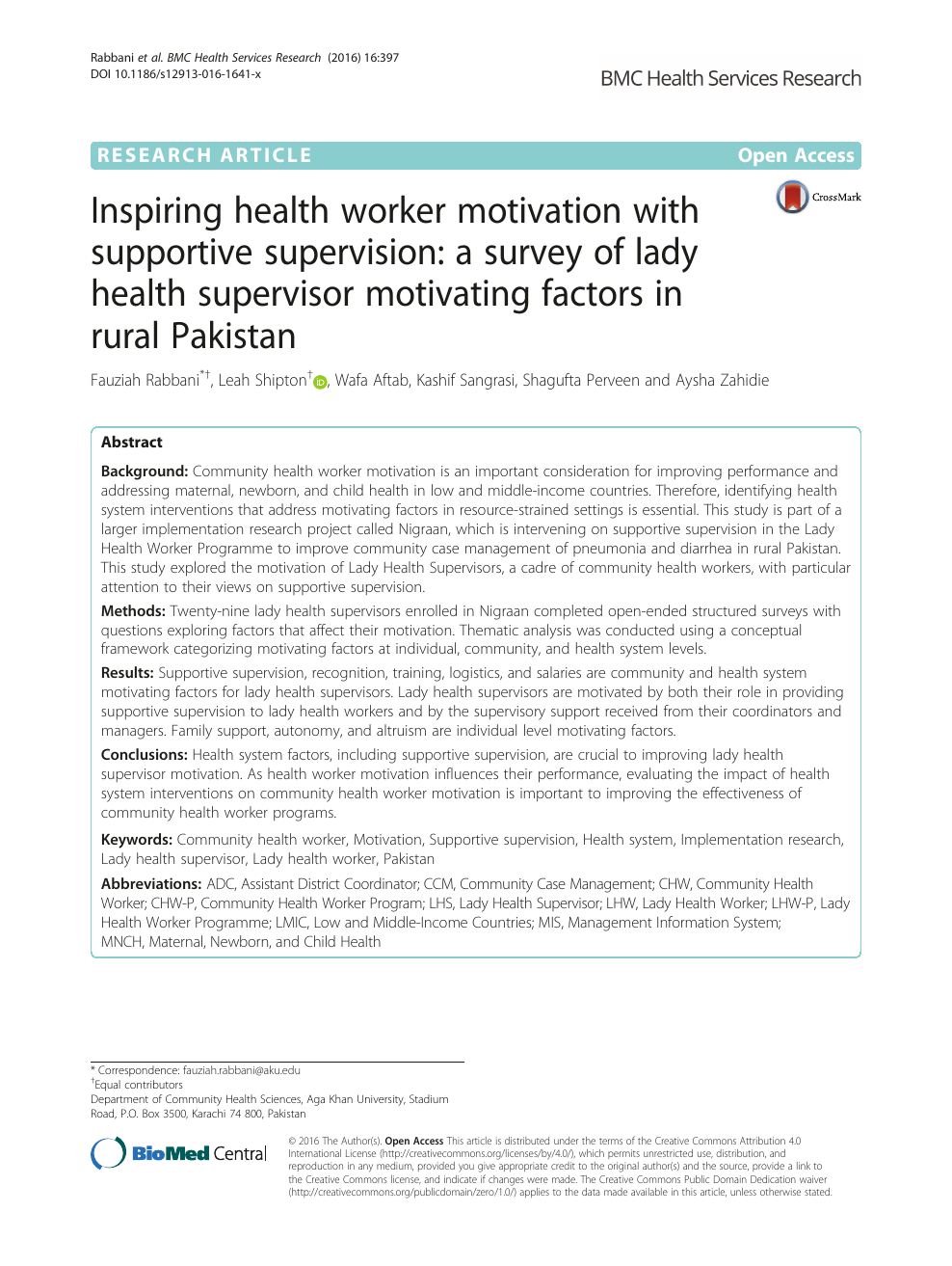 Inspiring health worker motivation with supportive supervision: a