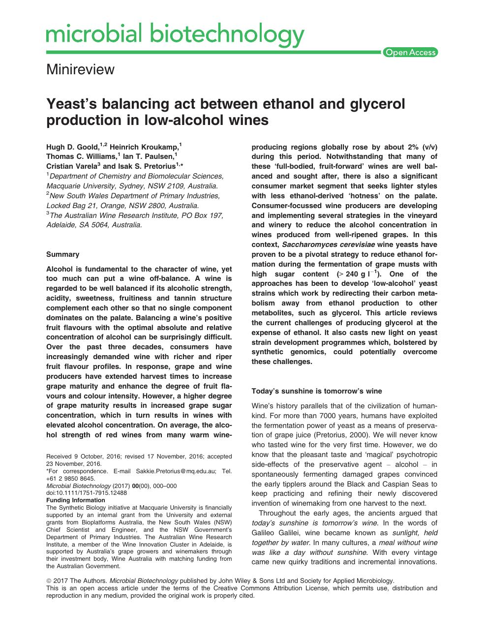 Yeast's balancing act between ethanol and glycerol