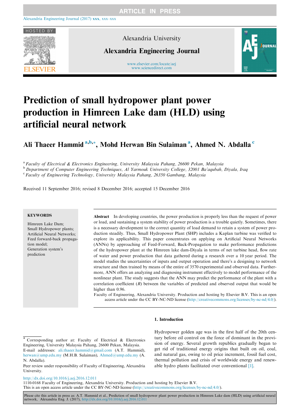 Prediction of small hydropower plant power production in Himreen