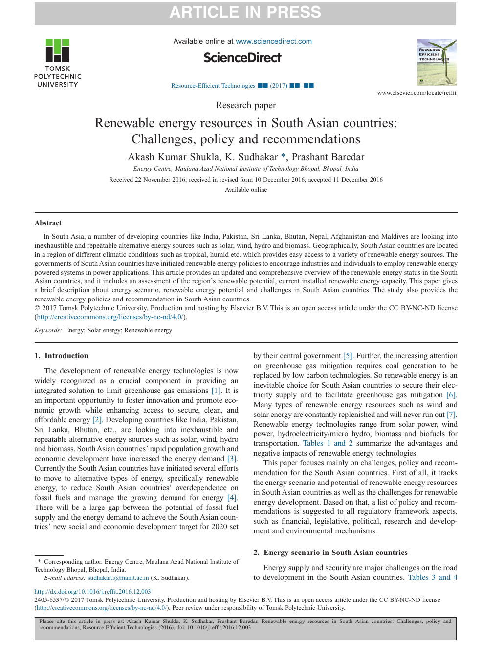 Renewable energy resources in South Asian countries: Challenges