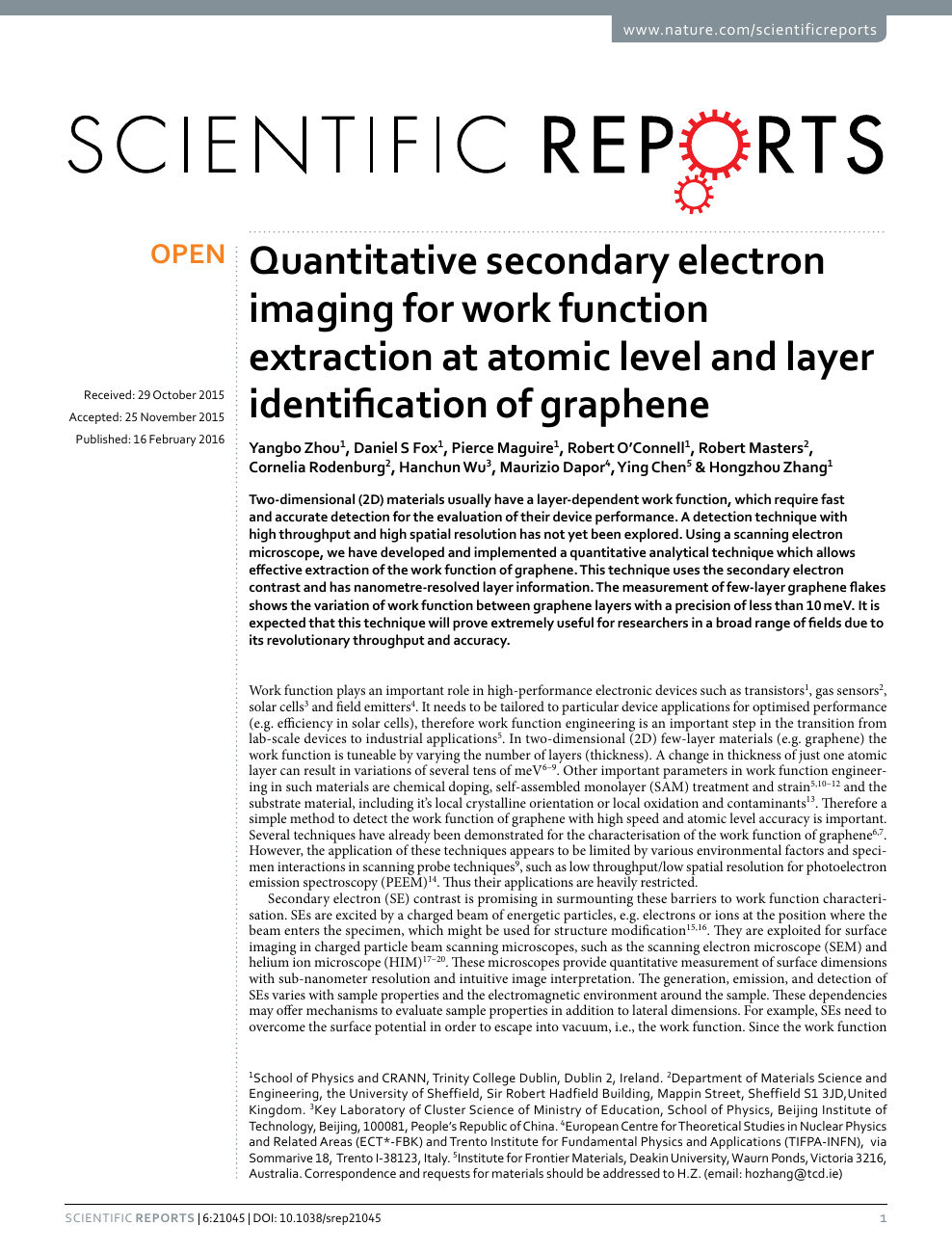 Quantitative secondary electron imaging for work function