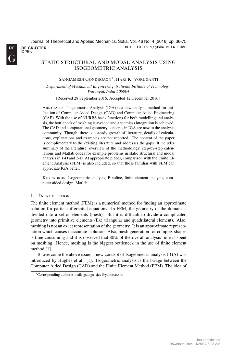 Static Structural and Modal Analysis Using Isogeometric