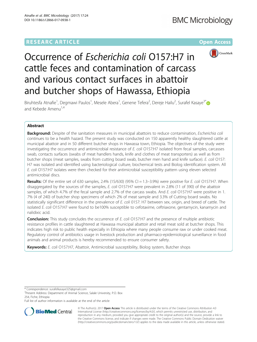 Occurrence of Escherichia coli O157:H7 in cattle feces and