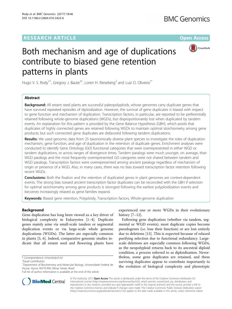 Both mechanism and age of duplications contribute to biased gene