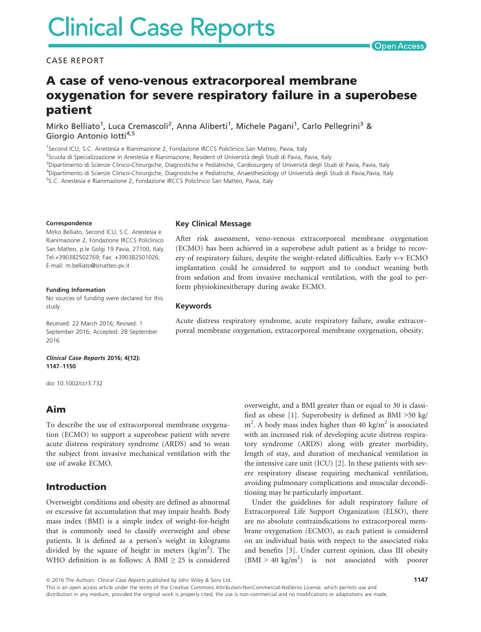 A case of veno-venous extracorporeal membrane oxygenation