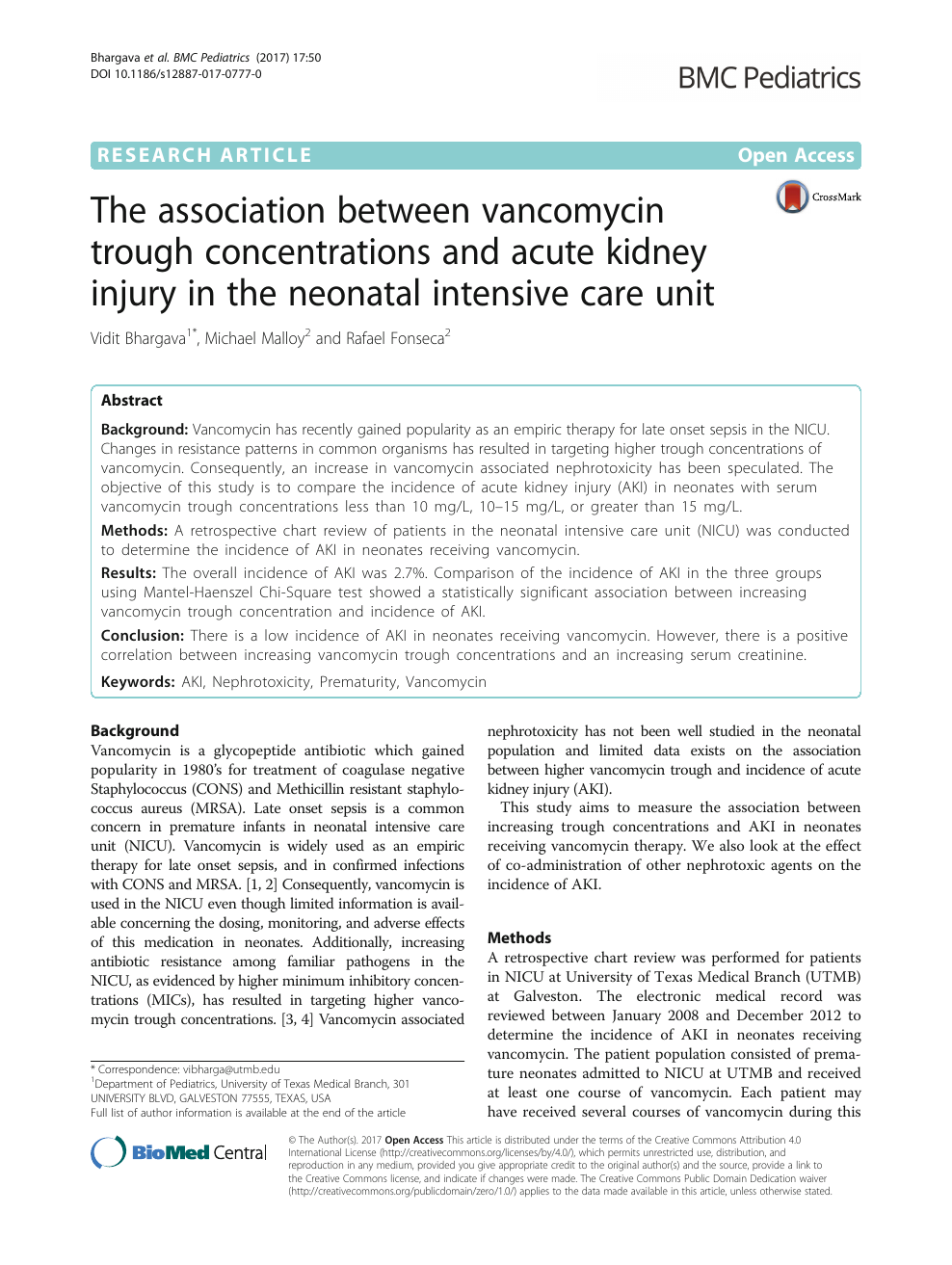 The association between vancomycin trough concentrations and acute