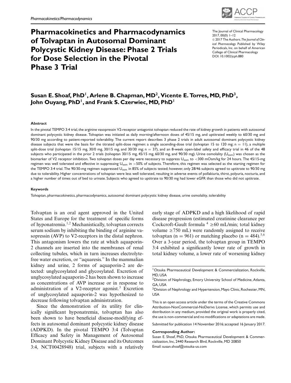 Pharmacokinetics and Pharmacodynamics of Tolvaptan in