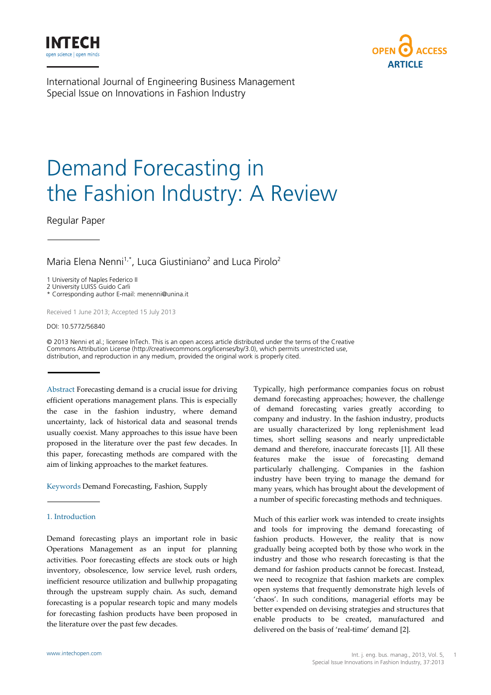 Demand Forecasting in the Fashion Industry: A Review – topic