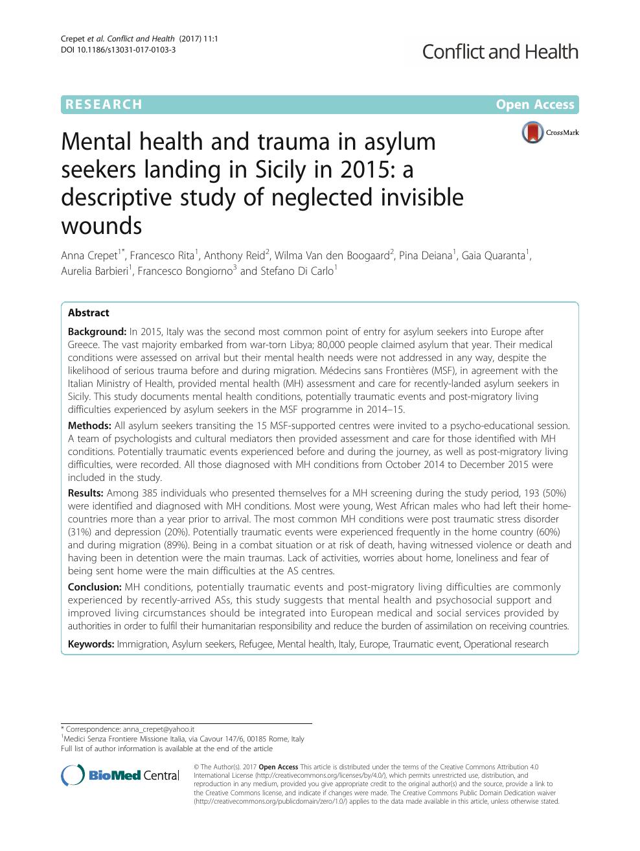 Mental health and trauma in asylum seekers landing in Sicily in 2015