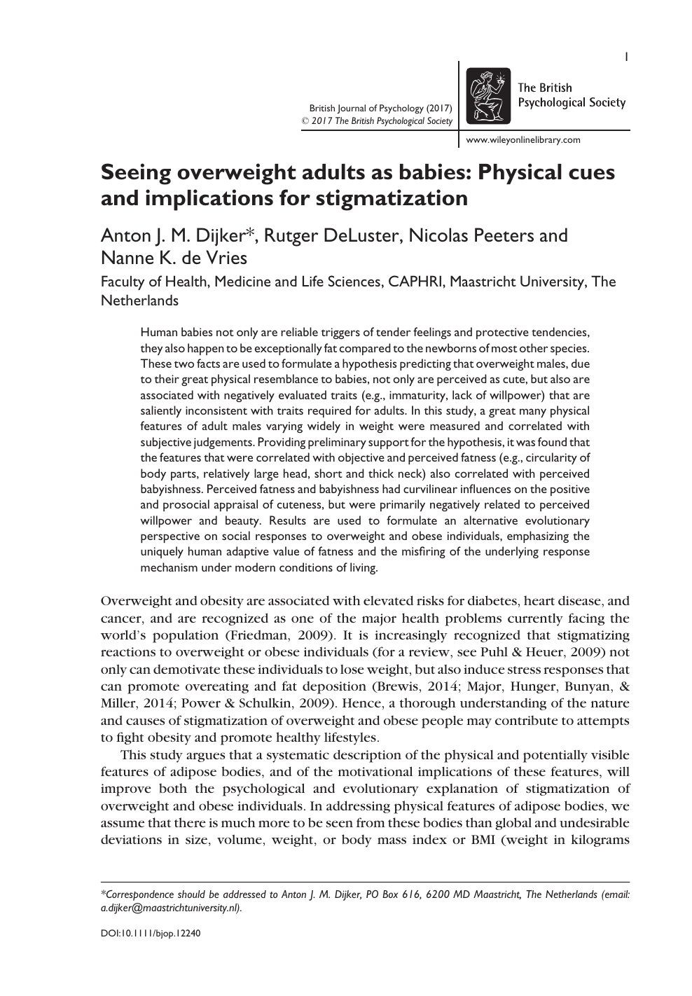 Seeing overweight adults as babies: Physical cues and
