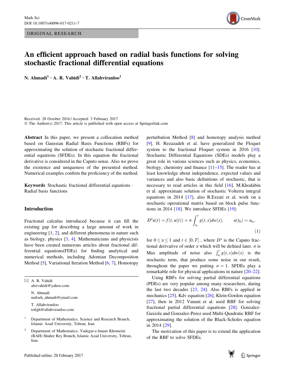 An efficient approach based on radial basis functions for