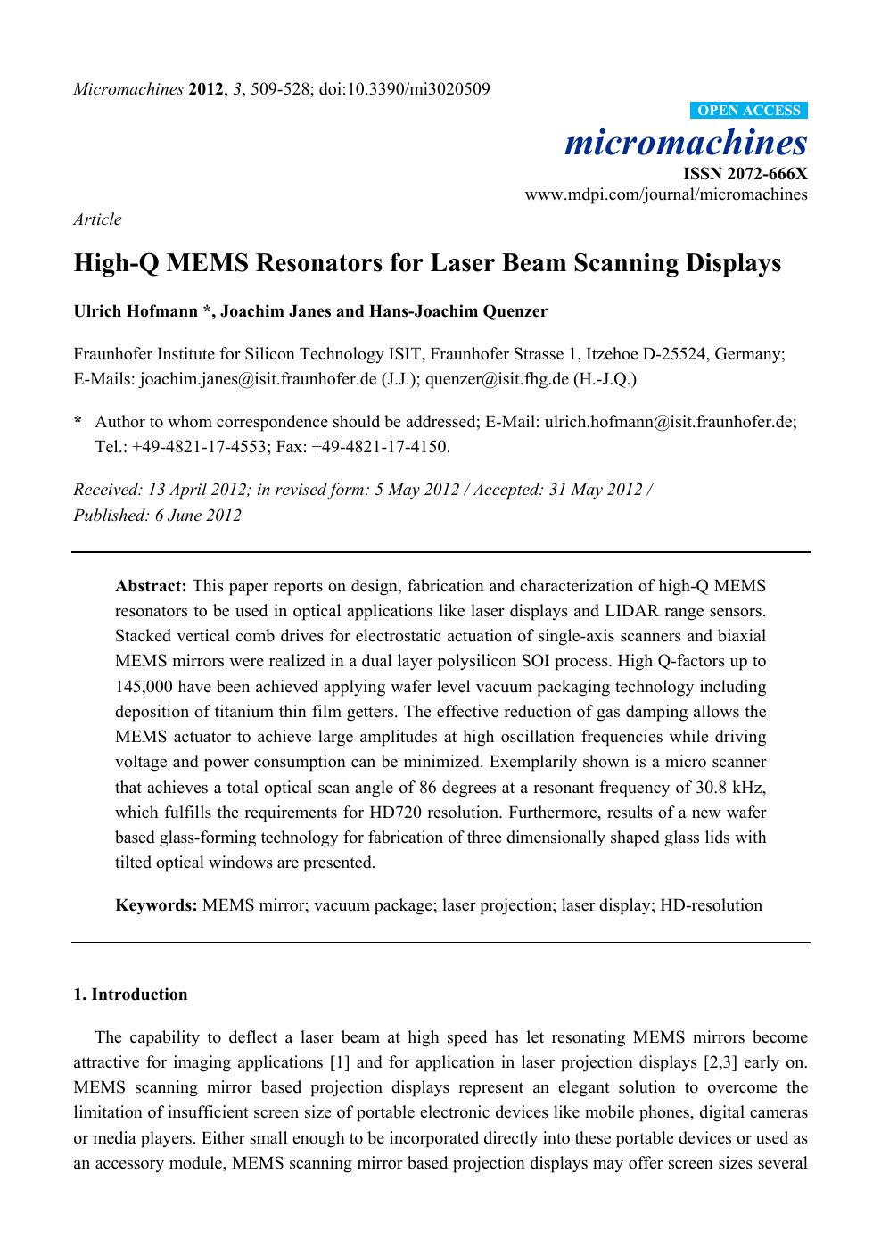 High-Q MEMS Resonators for Laser Beam Scanning Displays