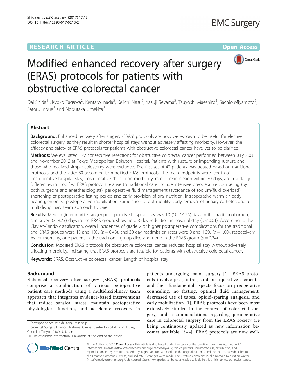 Modified Enhanced Recovery After Surgery Eras Protocols For Patients With Obstructive Colorectal Cancer Topic Of Research Paper In Clinical Medicine Download Scholarly Article Pdf And Read For Free On Cyberleninka Open