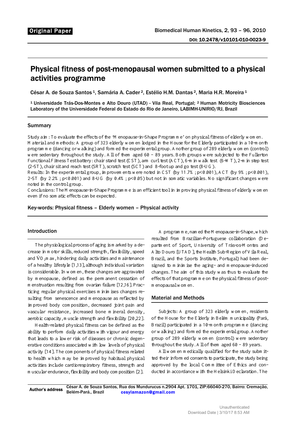 Physical fitness of post-menopausal women submitted to a