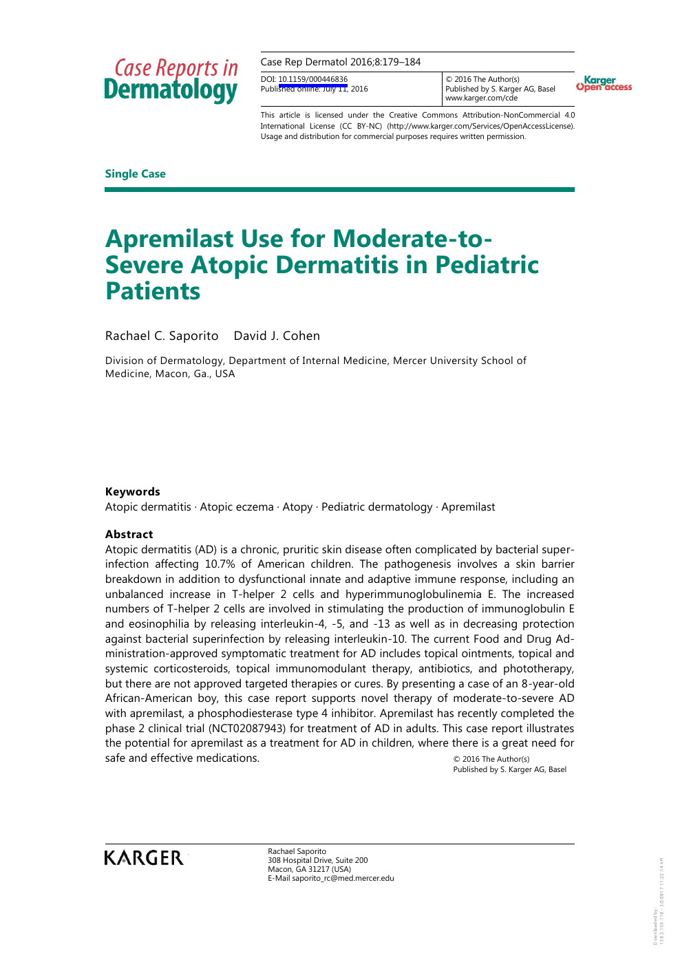 Apremilast Use for Moderate-to-Severe Atopic Dermatitis in