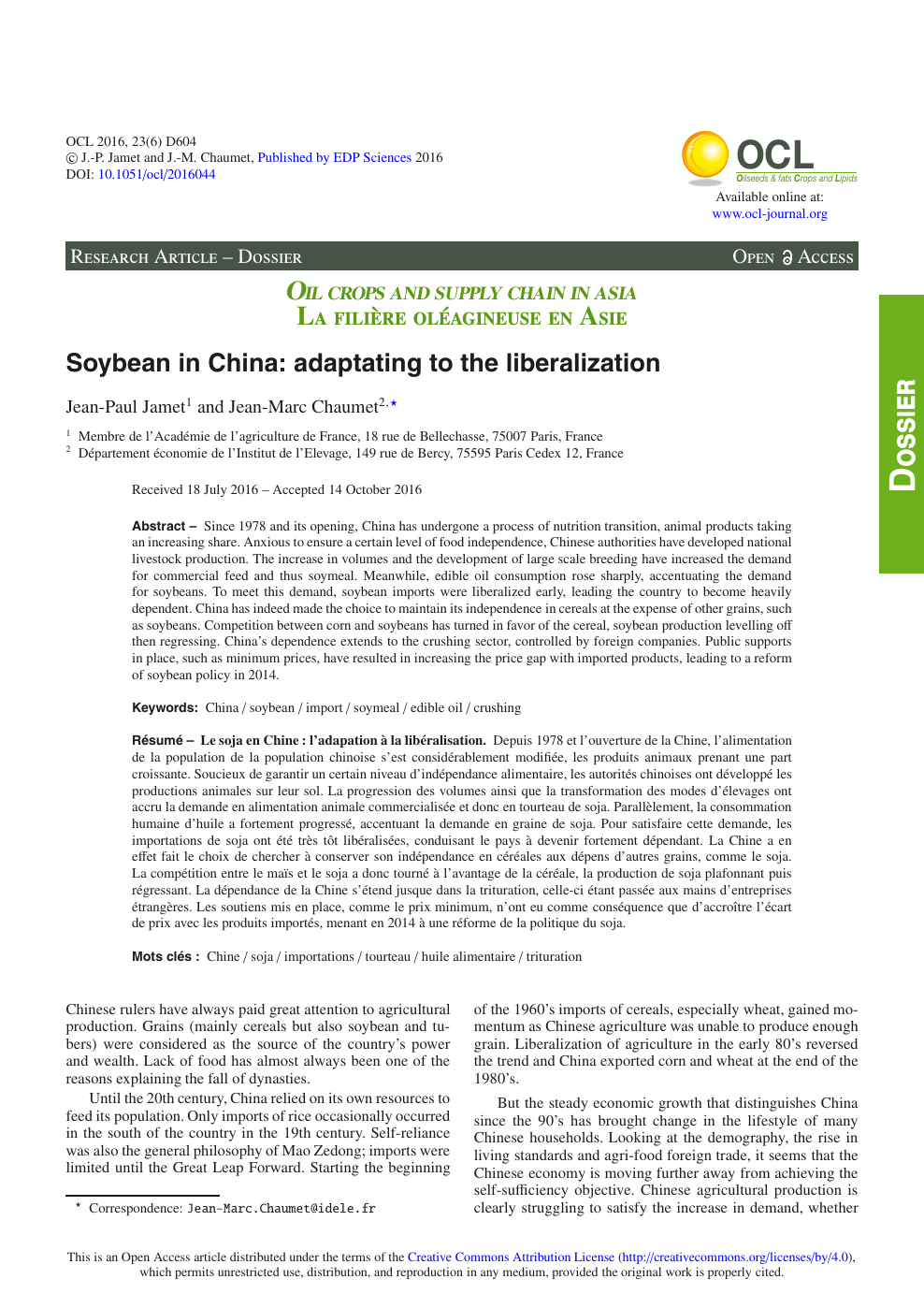 Difference Niveau Entre 2 Pieces soybean in china: adaptating to the liberalization – topic