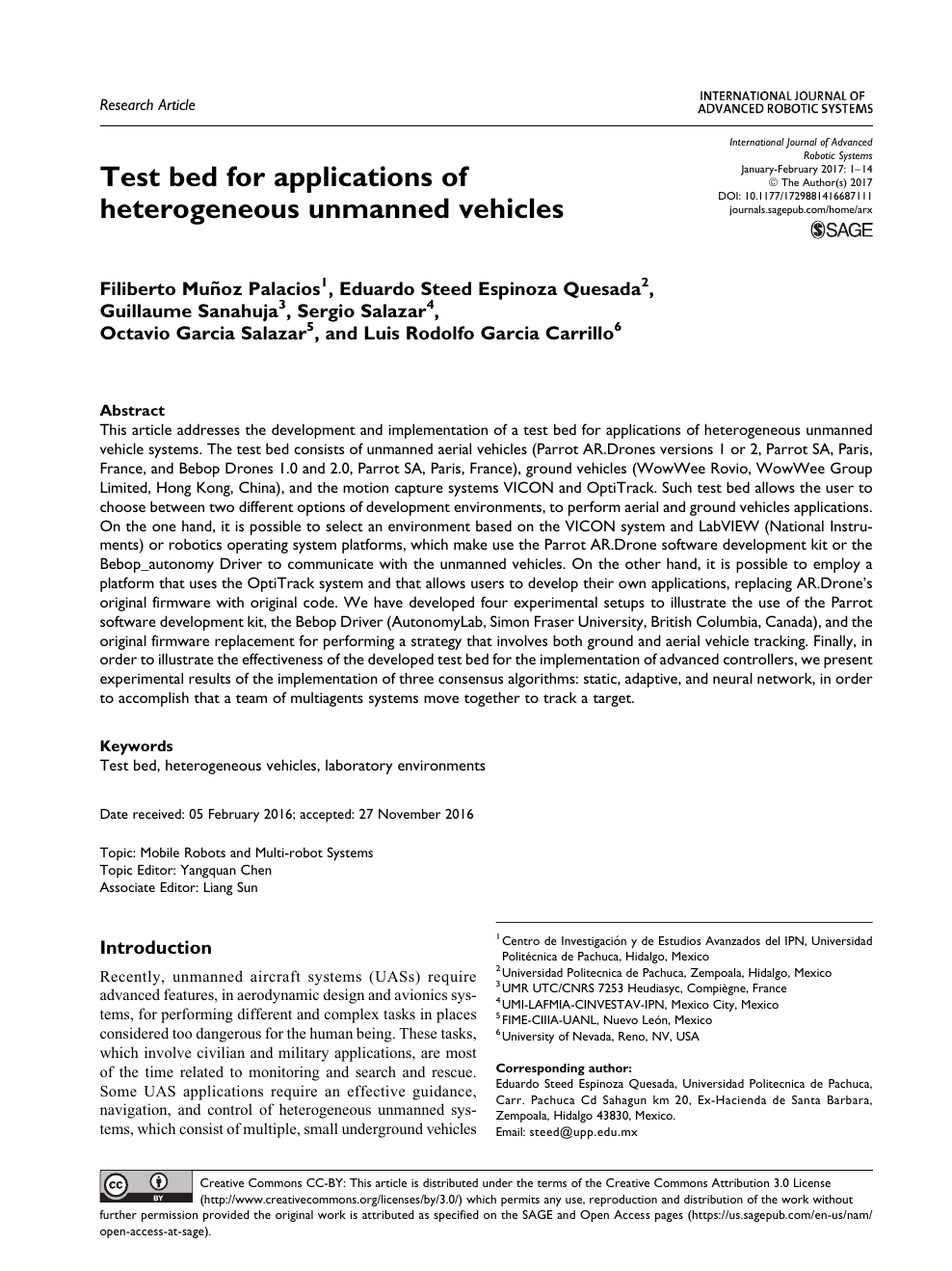 Test bed for applications of heterogeneous unmanned vehicles – topic