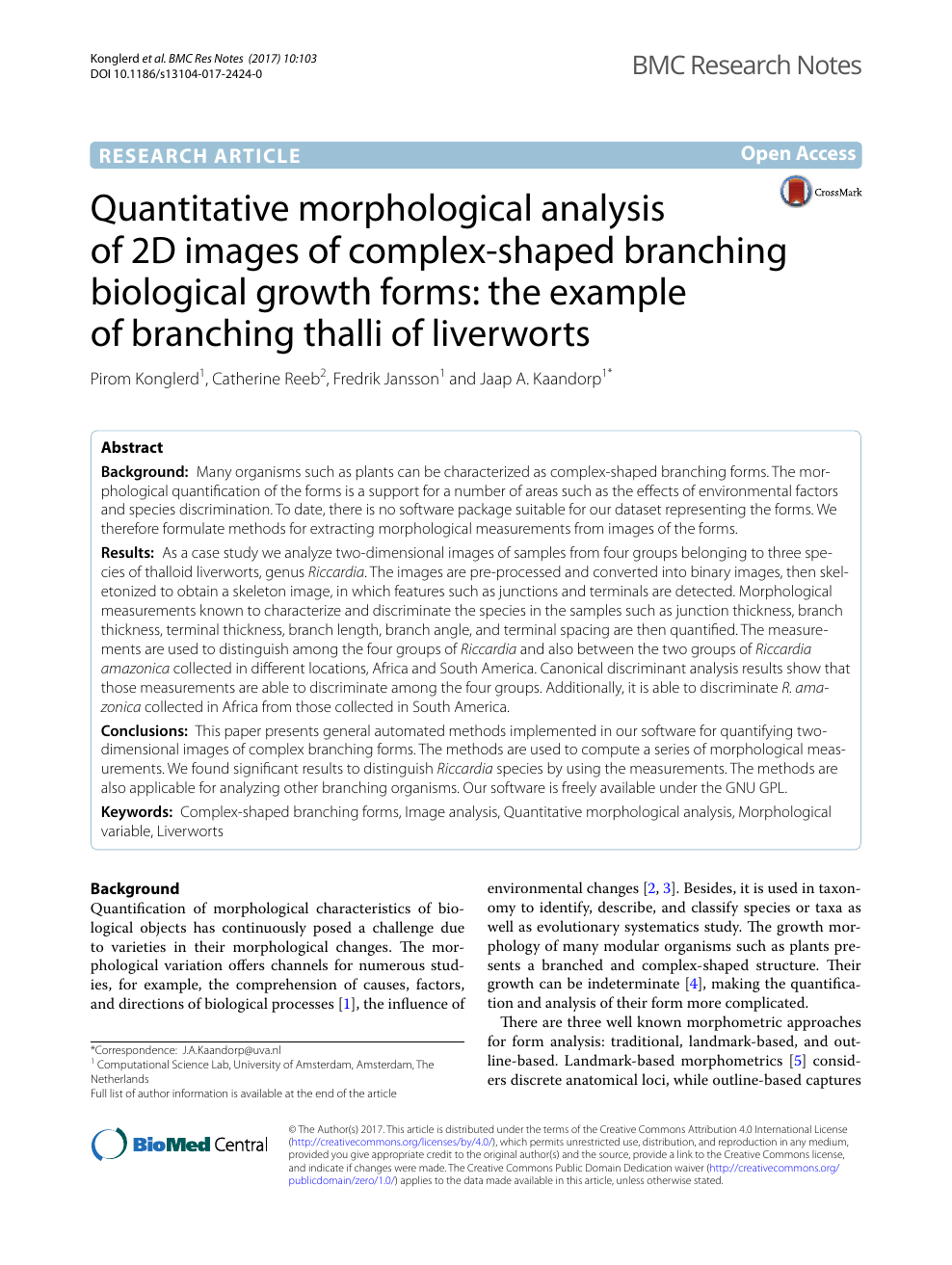 Quantitative morphological analysis of 2D images of complex-shaped