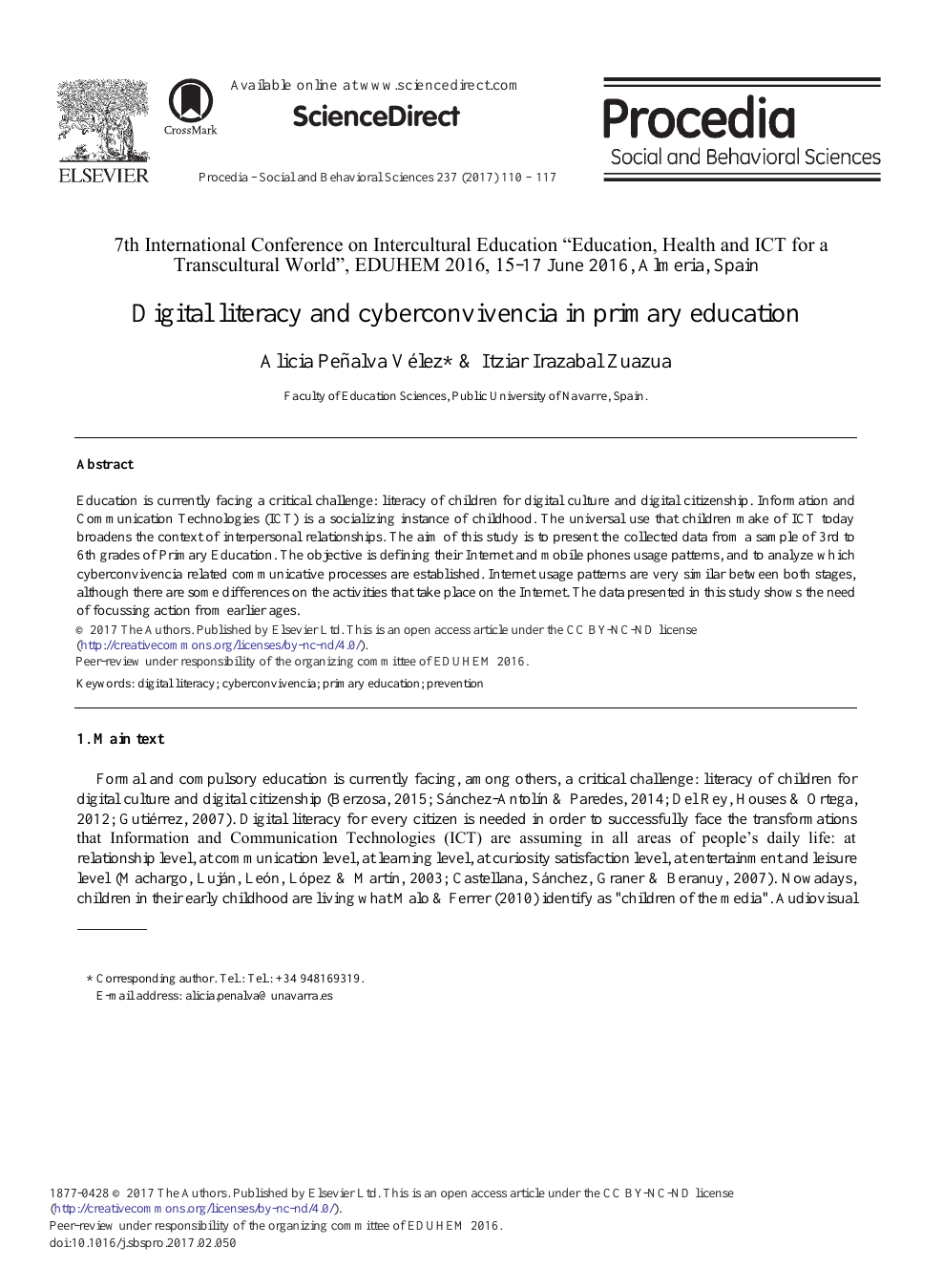 Digital Literacy and Cyberconvivencia in Primary Education