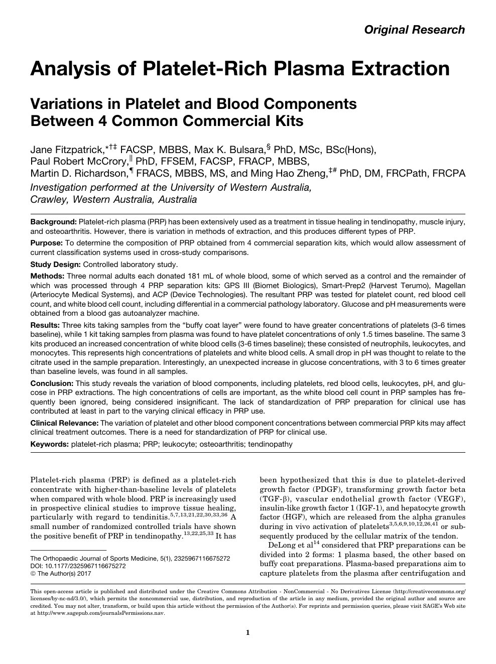 Analysis of Platelet-Rich Plasma Extraction – topic of research