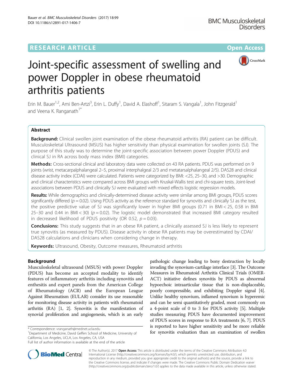 Joint-specific assessment of swelling and power Doppler in
