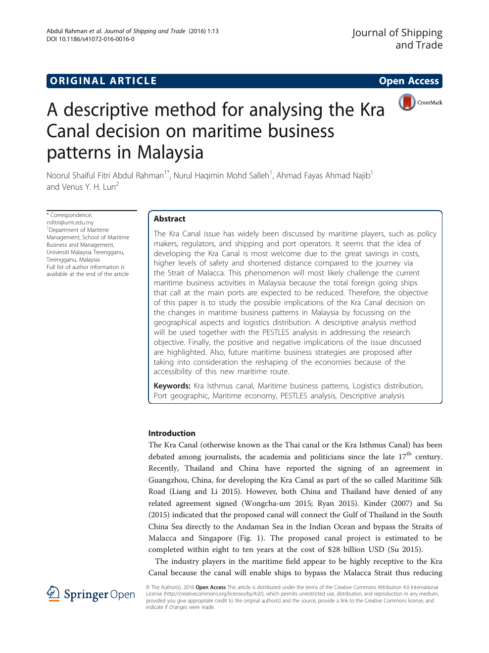 A descriptive method for analysing the Kra Canal decision on