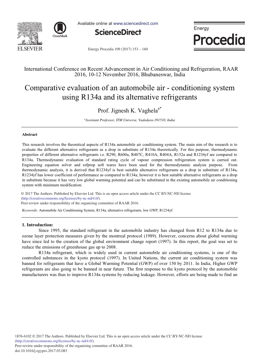 Comparative Evaluation of an Automobile Air - Conditioning