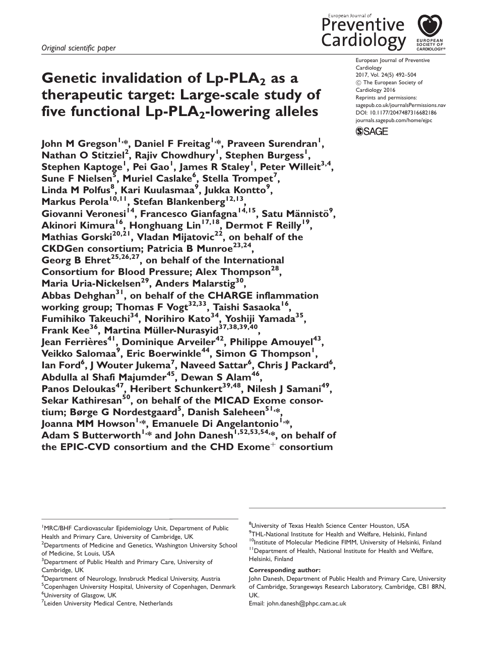Genetic invalidation of Lp-PLA2 as a therapeutic target
