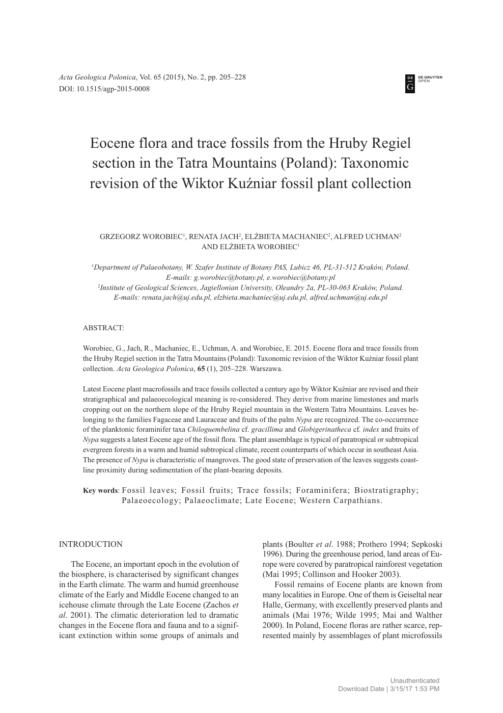 6f88559df5e0 Eocene flora and trace fossils from the Hruby Regiel section in the ...