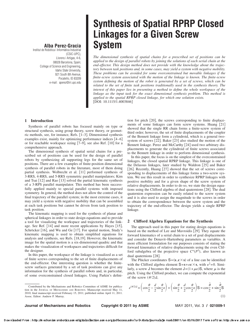 Spatial Kinematic Chains Analysis-Synthesis-Optimization