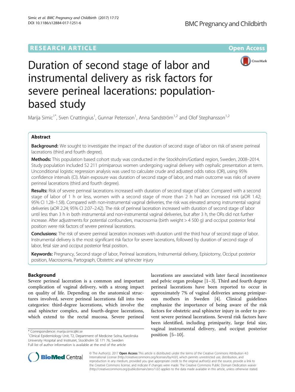Duration of second stage of labor and instrumental delivery