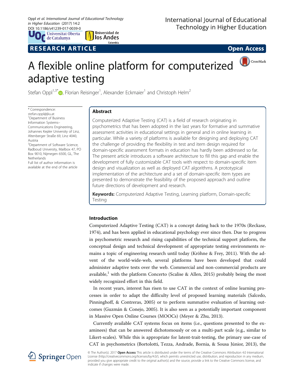 A flexible online platform for computerized adaptive testing