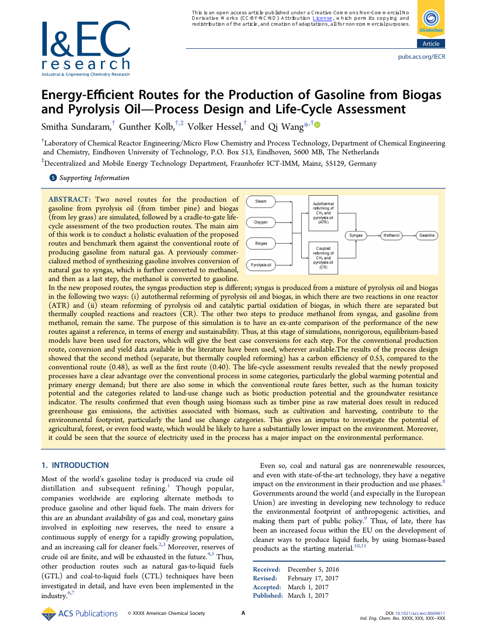 Energy-Efficient Routes for the Production of Gasoline from Biogas