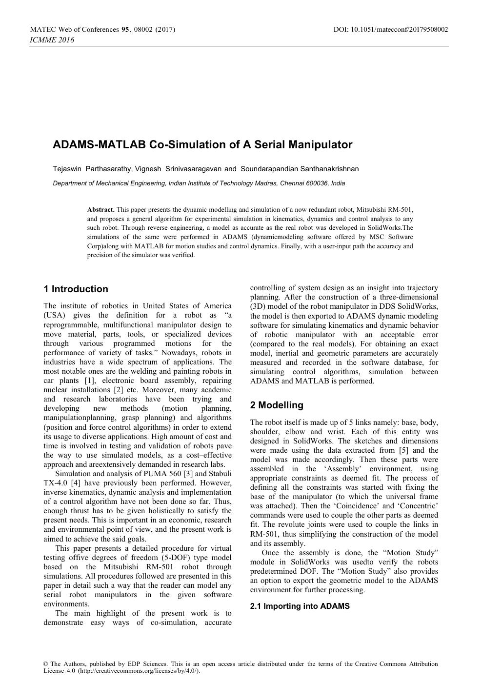 ADAMS-MATLAB Co-Simulation of A Serial Manipulator – topic