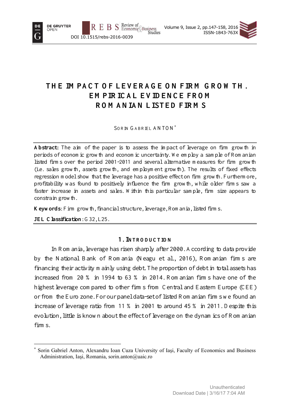 The Impact of Leverage on Firm Growth  Empirical Evidence from