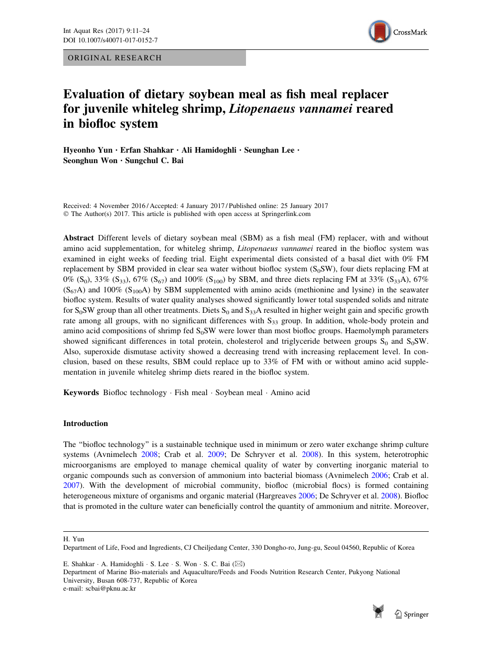 Evaluation of dietary soybean meal as fish meal replacer for