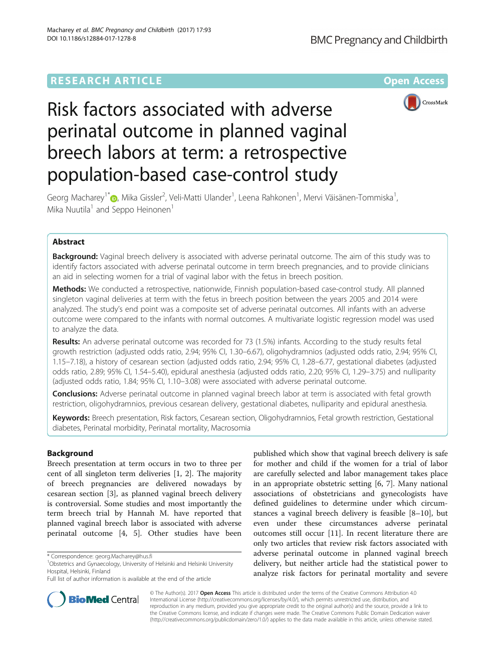 Risk factors associated with adverse perinatal outcome in planned