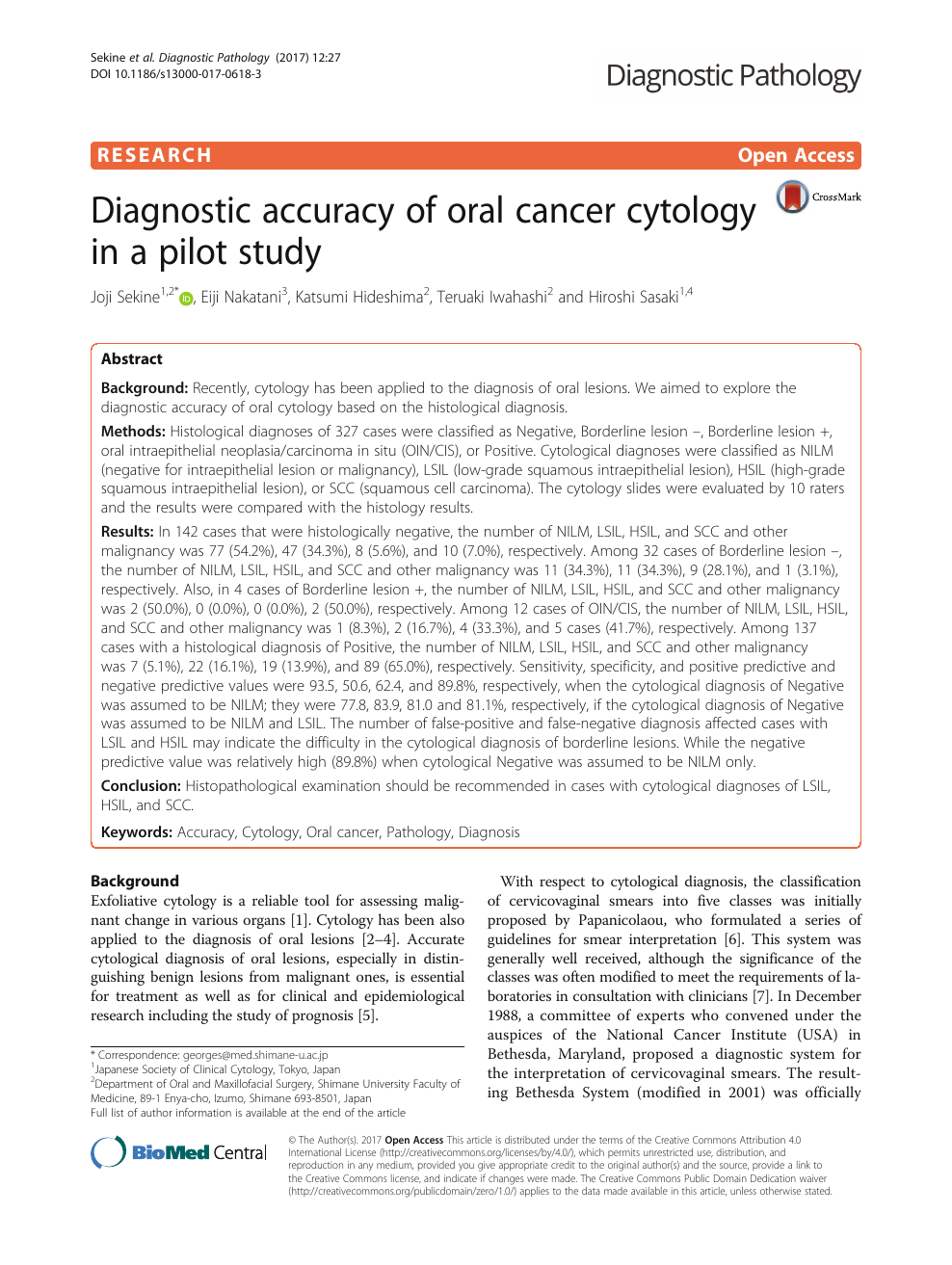 Diagnostic accuracy of oral cancer cytology in a pilot study