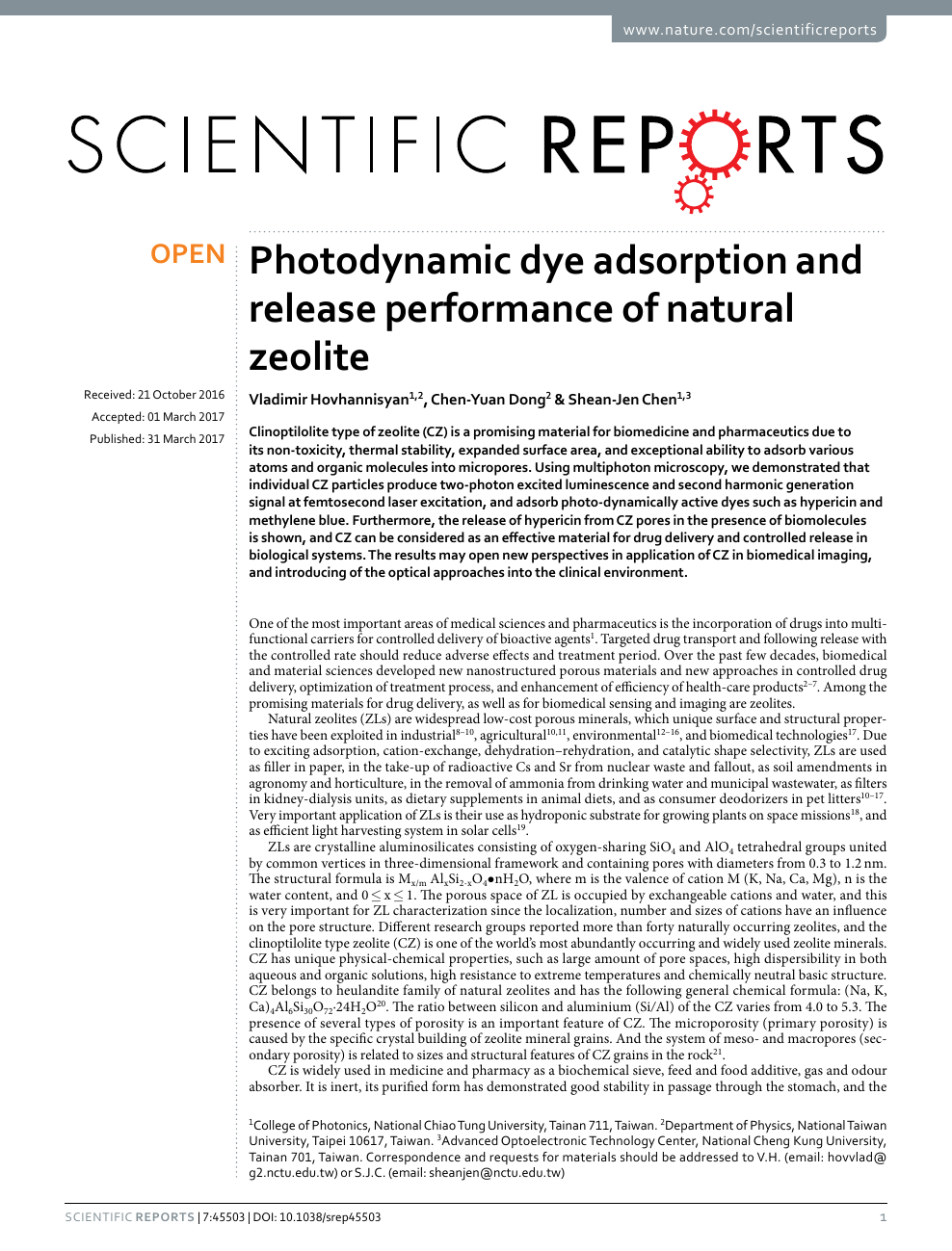 Photodynamic dye adsorption and release performance of