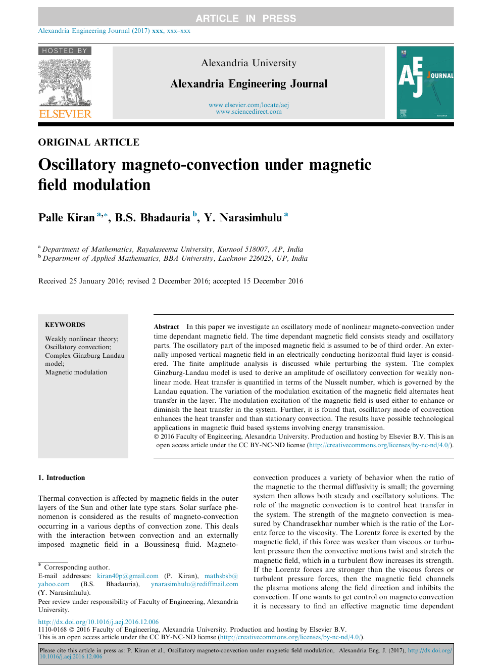 Oscillatory magneto-convection under magnetic field modulation
