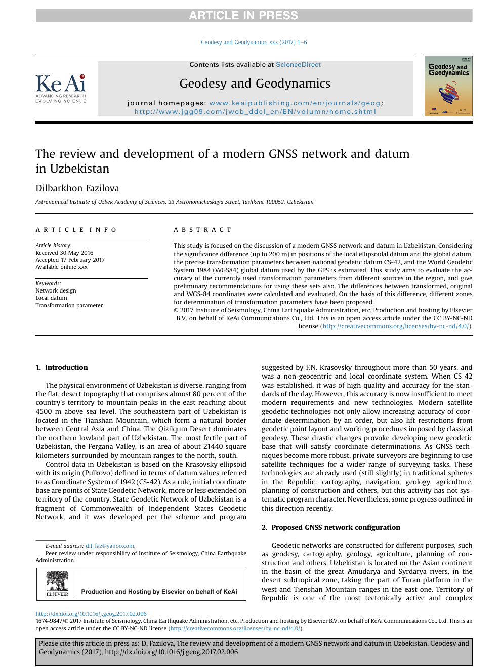 The review and development of a modern GNSS network and datum in
