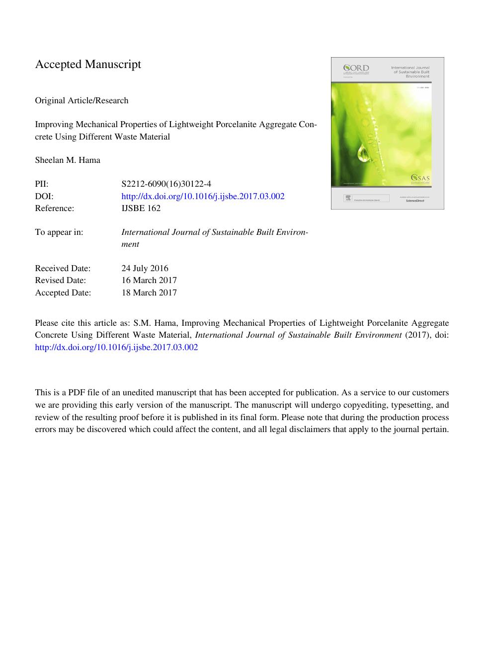 Improving mechanical properties of lightweight Porcelanite