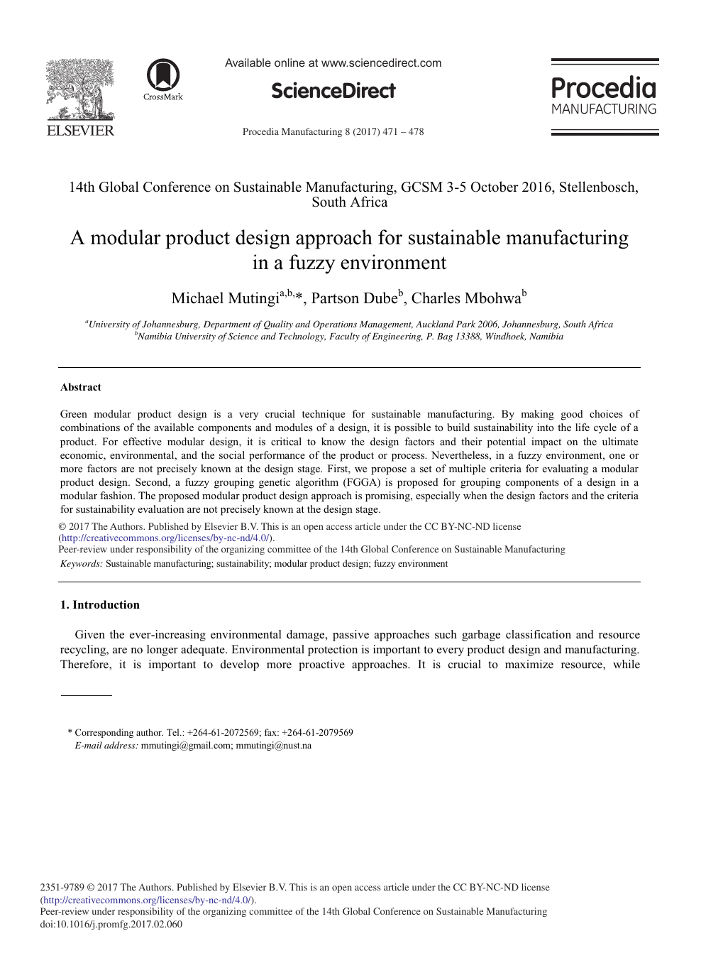 A Modular Product Design Approach For Sustainable Manufacturing In A Fuzzy Environment Topic Of Research Paper In Materials Engineering Download Scholarly Article Pdf And Read For Free On Cyberleninka Open Science