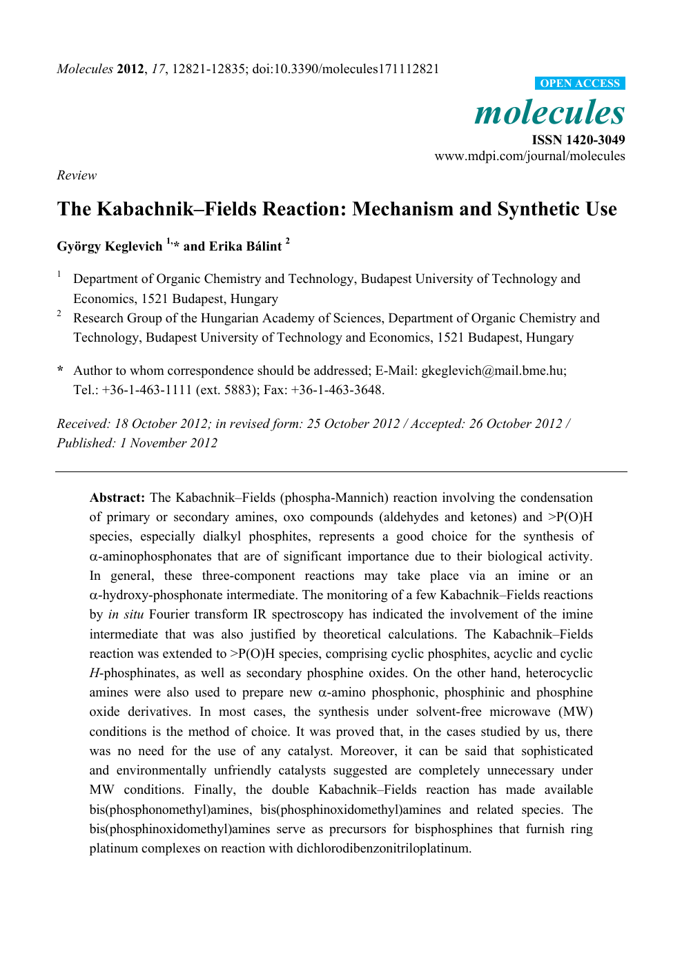 The Kabachnik–Fields Reaction: Mechanism and Synthetic Use